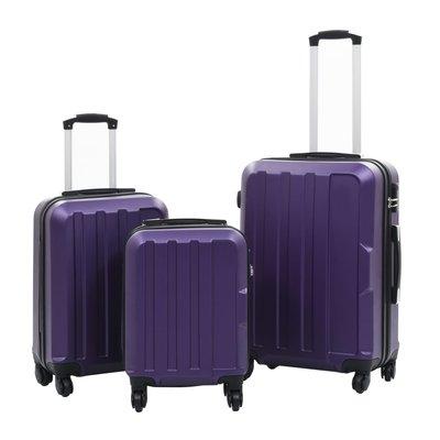 3-delige Harde kofferset ABS paars