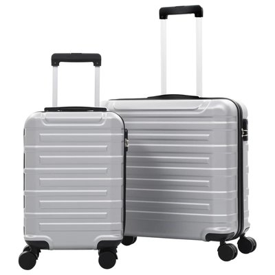 2-delige Harde kofferset ABS zilverkleurig