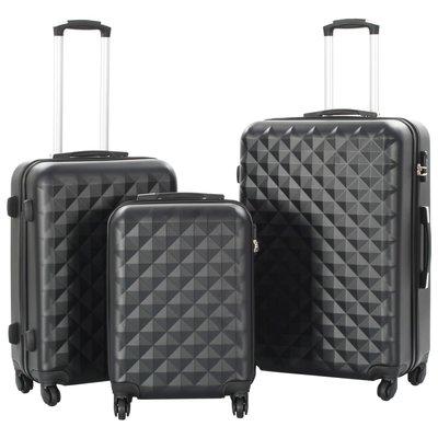 3-delige Harde kofferset ABS zwart