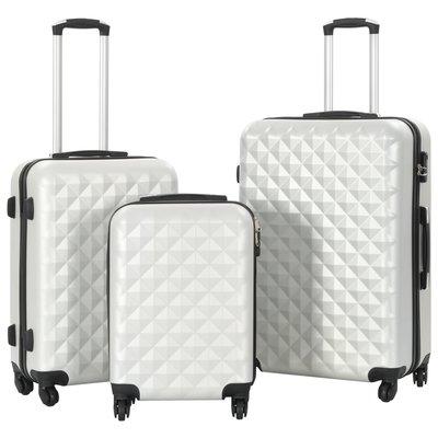 3-delige Harde kofferset ABS helder zilverkleurig