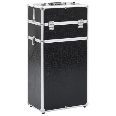 Make-up trolley aluminium zwart met krokodillenpatroon