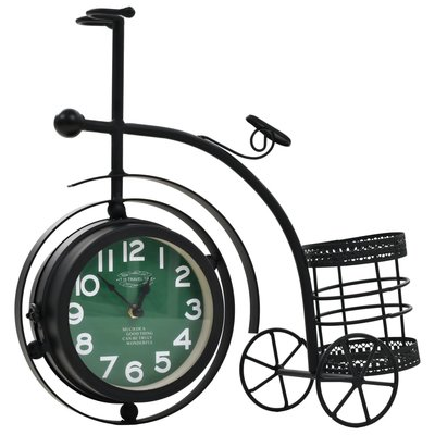 Klok dubbelzijdig driewieler vintage stijl
