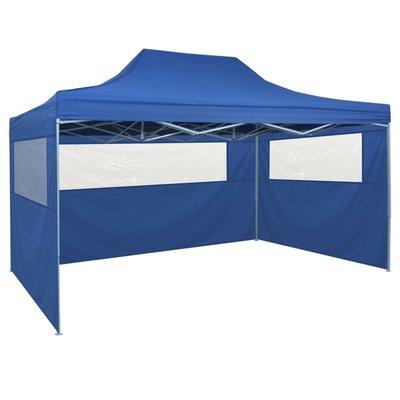 Vouwtent pop-up met 4 zijwanden 3x4,5 m blauw