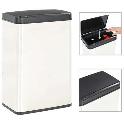 Prullenbak met automatische sensor 60 L RVS wit en zwart