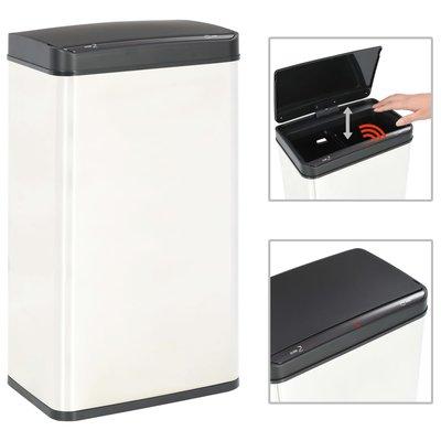 Prullenbak met automatische sensor 70 L RVS wit en zwart