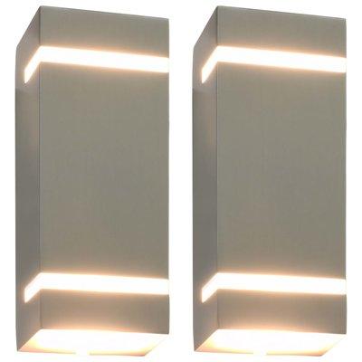 Buitenwandlampen 2 st 35 W rechthoekig zilverkleurig