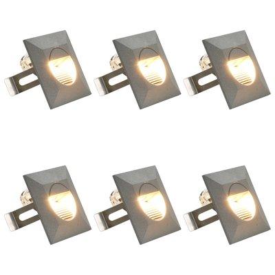 LED-buitenwandlampen 6 st 5 W vierkant zilverkleurig