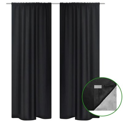 Gordijnen verduisterend dubbellaags 140x175 cm zwart 2 st