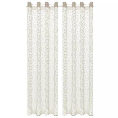 Glasgordijnen warp-gebreid 140x245 cm bladeren crème 2 st
