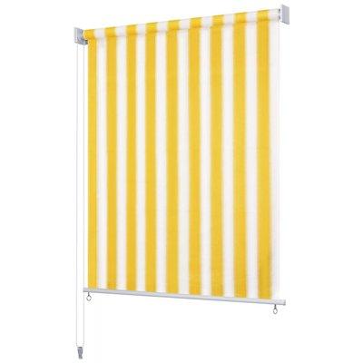 Rolgordijn voor buiten 140x140 cm geel en wit gestreept