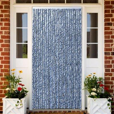 Vliegengordijn 90x220 cm chenille blauw, wit en zilver