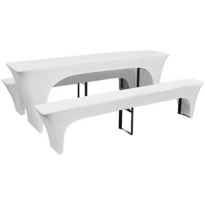 Hoes voor biertafel en banken 225x50x80 cm stretch wit 3 st