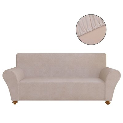 Stretch meubelhoes voor bank beige polyester jersey
