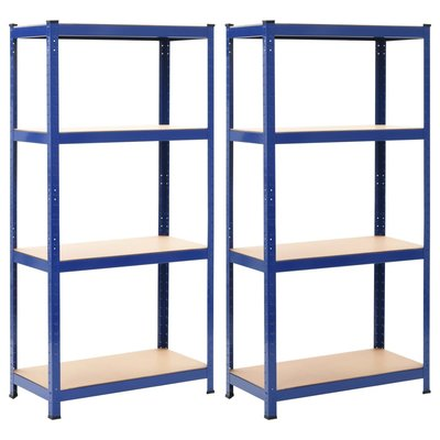 Opbergrekken 2 st 80x40x160 cm staal en MDF blauw