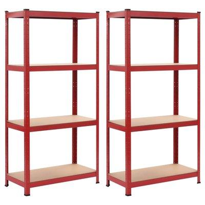 Opbergrekken 2 st 80x40x160 cm staal en MDF rood