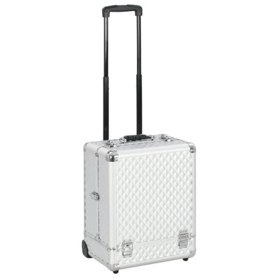 Make-up trolley 35x29x45 cm aluminium zilverkleurig
