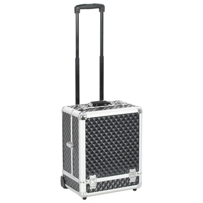 Make-up trolley 35x29x45 cm aluminium zwart