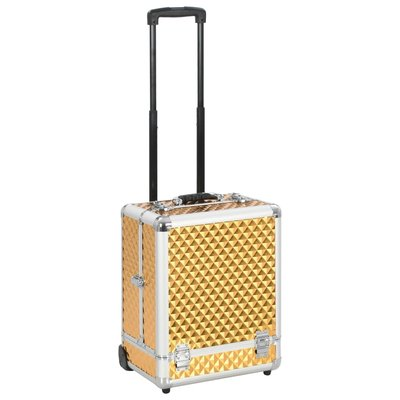 Make-up trolley 35x29x45 cm aluminium goudkleurig