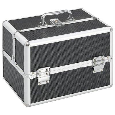 Make-up koffer 22x30x21 cm aluminium zwart