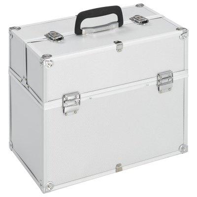 Make-up koffer 37x24x35 cm aluminium zilverkleurig