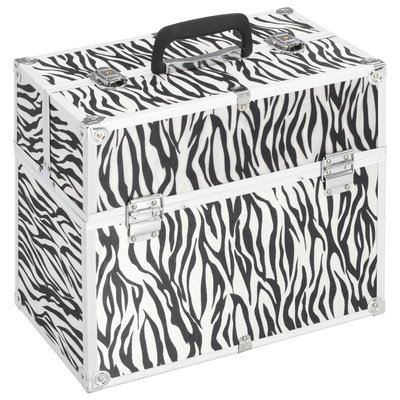 Make-up koffer 37x24x35 cm aluminium zebrastreep