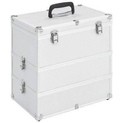 Make-up koffer 37x24x40 cm aluminium zilverkleurig