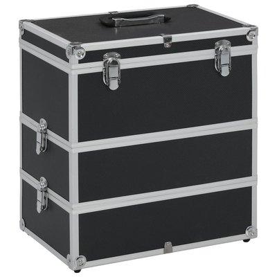 Make-up koffer 37x24x40 cm aluminium zwart