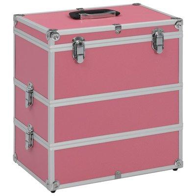 Make-up koffer 37x24x40 cm aluminium roze