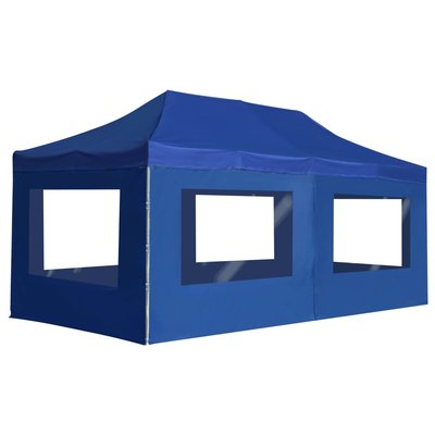 Partytent inklapbaar met wanden 6x3 m aluminium blauw