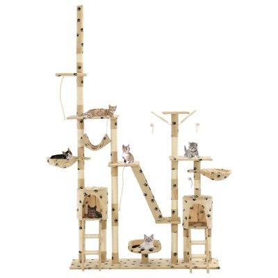Kattenpaal met sisal krabpalen 230-250 cm pootafdrukken beige