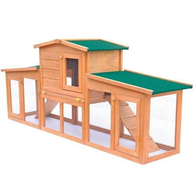 Konijnenhok voor buiten met daken groot hout
