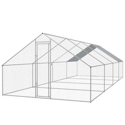 Buitenhok voor kippen 3x8x2 m gegalvaniseerd staal