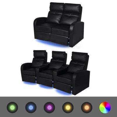 2-delige LED verstelbare bank 2+3-zits kunstleer zwart
