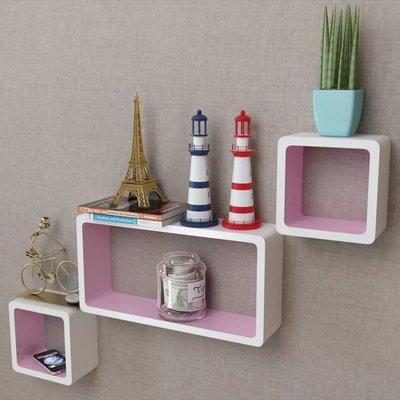 Wandplanken kubus MDF zwevend voor boeken/dvd 3 st wit-roze