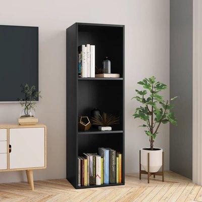 Boekenkast/Tv-meubel 36x30x114 cm spaanplaat zwart