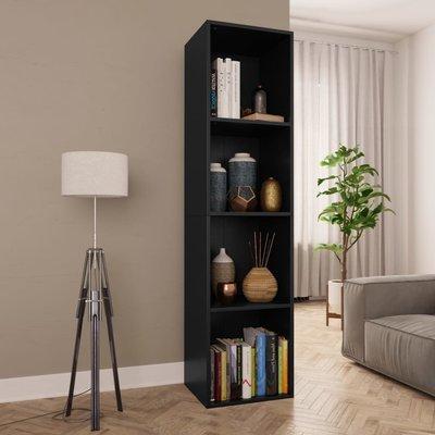 Boekenkast/Tv-meubel 36x30x143 cm spaanplaat zwart