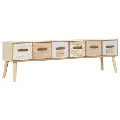 Tv-meubel met 6 lades 130x30x40 cm massief grenenhout
