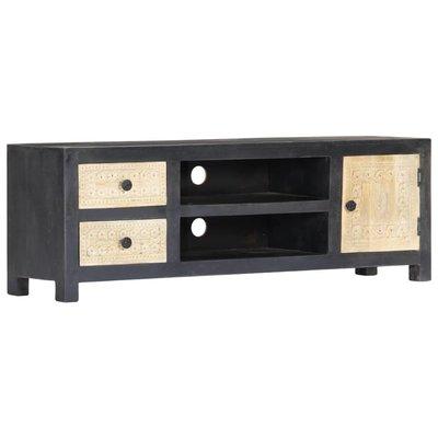 Tv-meubel handgesneden 120x30x40 cm massief mangohout grijs