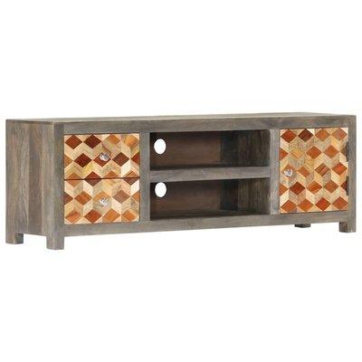 Tv-meubel 120x30x40 cm massief mangohout grijs