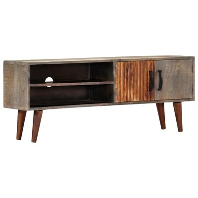Tv-meubel 115x30x46 cm massief ruw mangohout grijs