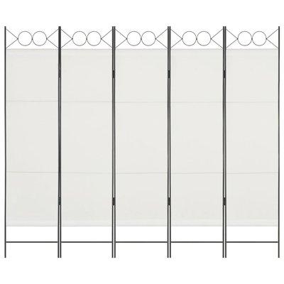 Kamerscherm met 5 panelen 200x180 cm wit