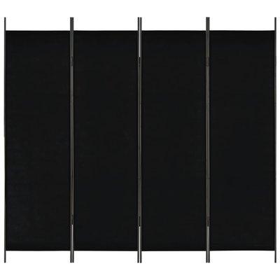 Kamerscherm met 4 panelen 200x180 cm zwart