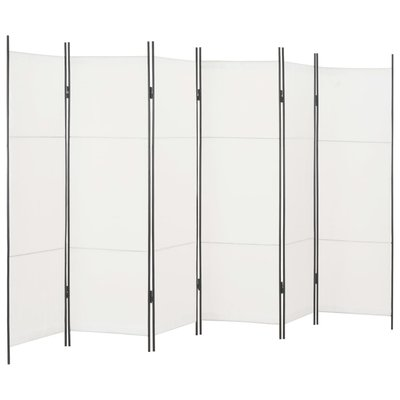 Kamerscherm met 6 panelen 300x180 cm wit