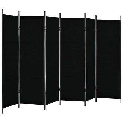 Kamerscherm met 6 panelen 300x180 cm zwart