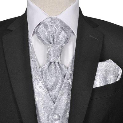 Gilet set mannen paisleymotief bruiloft maat 48 zilver