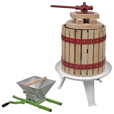 2-delige Fruit- en wijnpers met stamperset