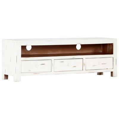 Tv-meubel 120x30x40 cm massief acaciahout wit
