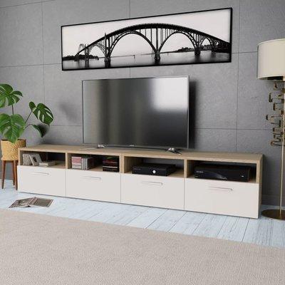 Tv-meubels 95x35x36 cm spaanplaat eikenkleurig en wit 2 st