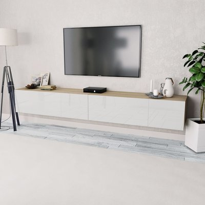 Tv-kasten 120x40x34 cm spaanplaat hoogglans wit en eiken 2 st