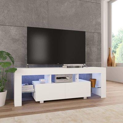 Tv-meubel met LED-verlichting 130x35x45 cm hoogglans wit